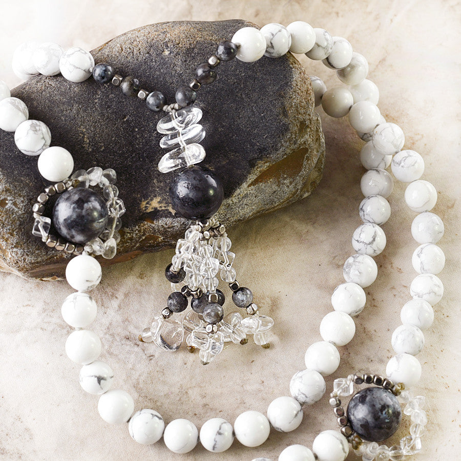 Howlite mala with Norwegian Moonstone, Hematite & clear Quartz