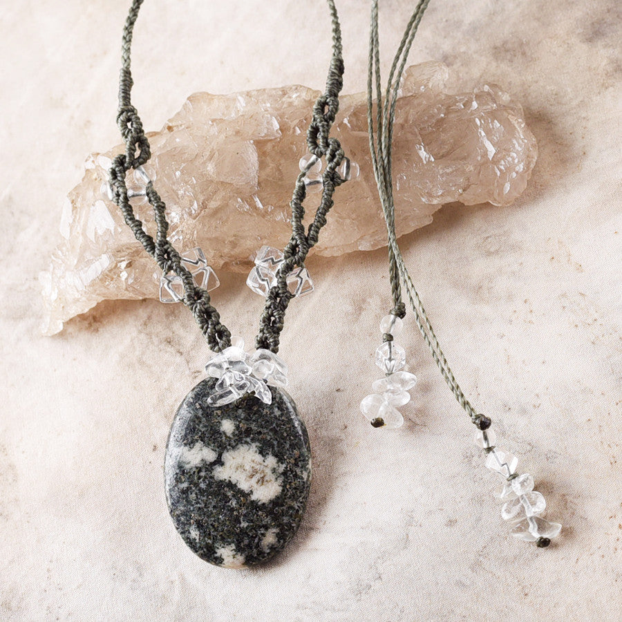 Preseli Bluestone talisman with clear Quartz