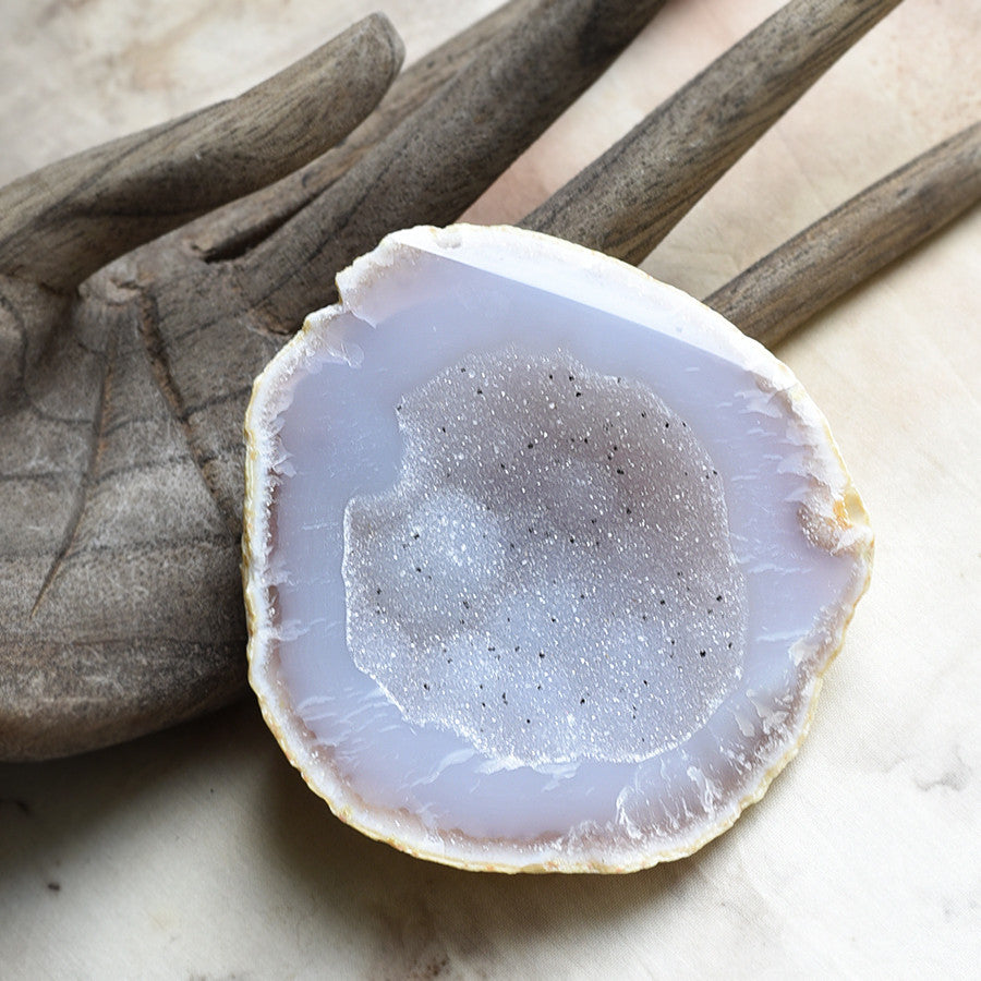 Agate with Quartz, geode half