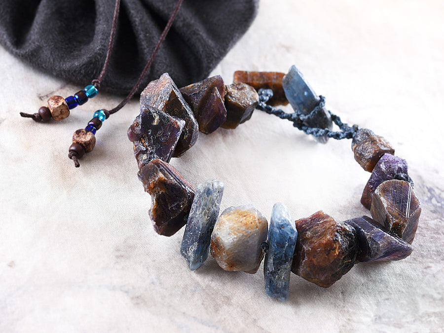 Crystal healing bracelet with raw Sapphire & Kyanite, for up to 6.5