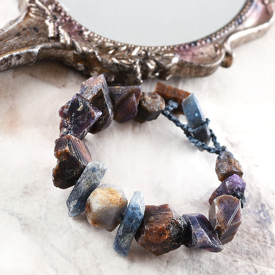 "Crystal healing bracelet with raw Sapphire & Kyanite, for up to 6.5"" wrist"