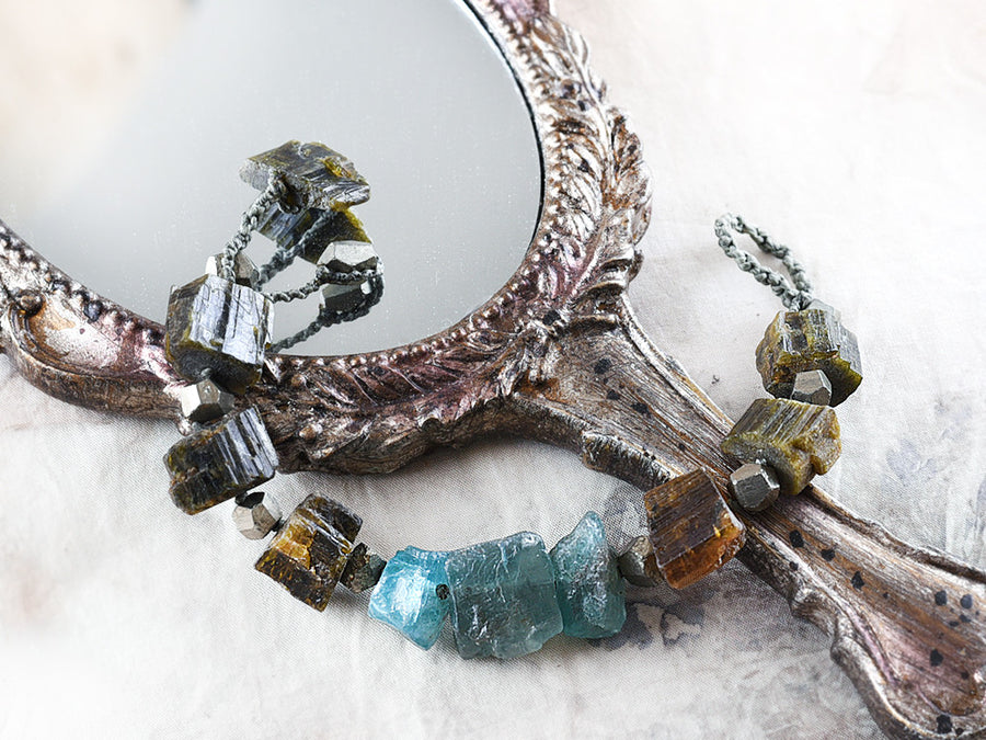 Crystal healing bracelet with Verdelite, Apatite & Pyrite ~ for 6