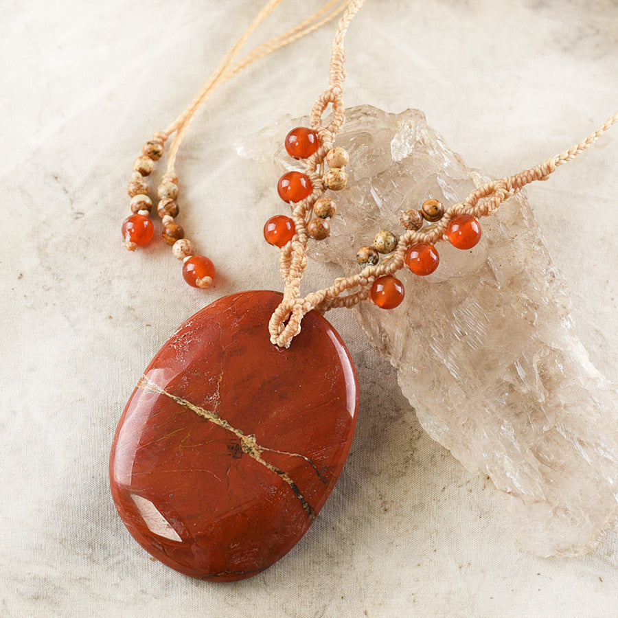 Red Jasper crystal healing necklace