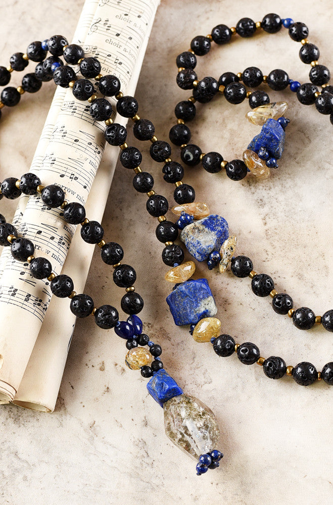 Lava Stone mala with Lapis Lazuli, Gold Rutile Quartz & Shaman Dream Stone Quartz