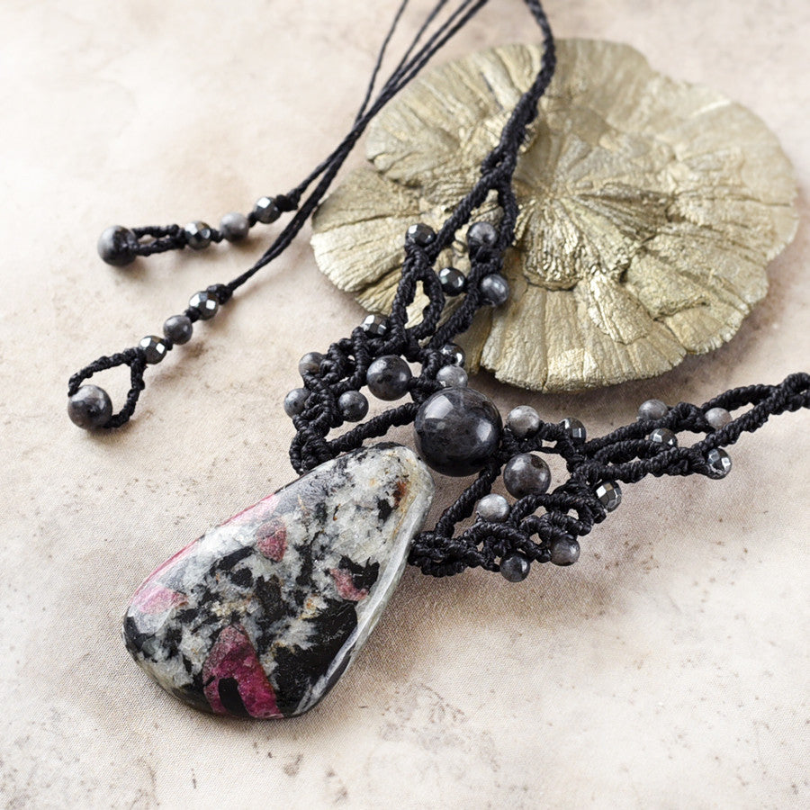 Crystal healing amulet with Eudialyte