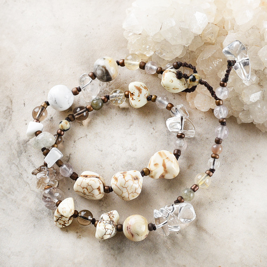 Crystal healing double wrap bracelet in light tones ~ for up to 6.5