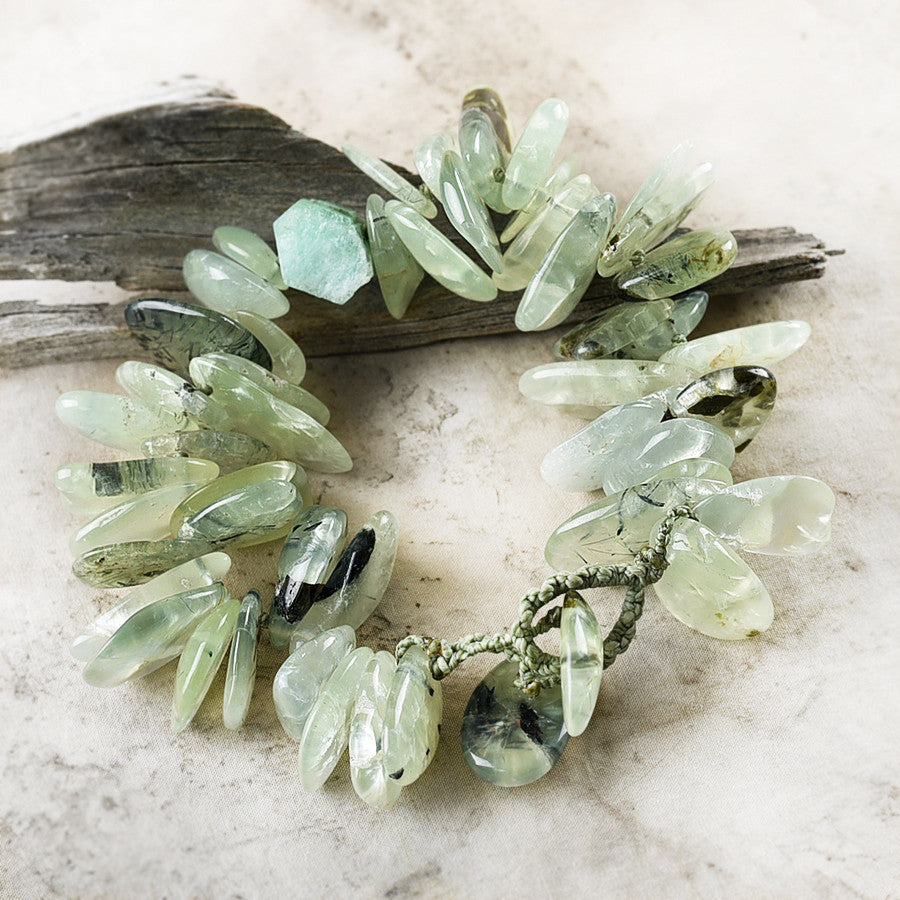 "Crystal healing bracelet with Prehnite w/ Epidote inclusions & Emerald ~ for up to 7.25"" wrist"
