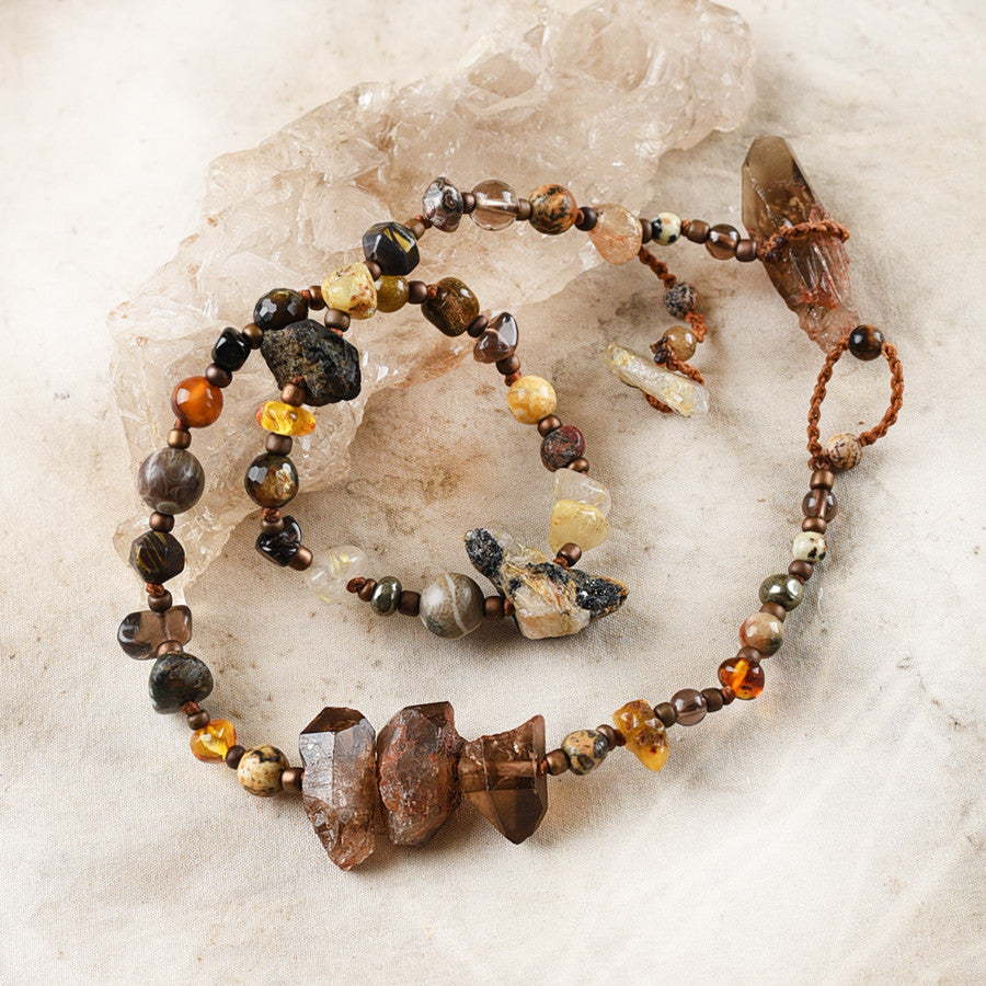 Crystal healing double wrap bracelet in earthy tones ~ for up to 6.5