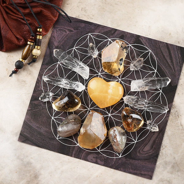 'Confidence & Courage' ~ crystal grid set