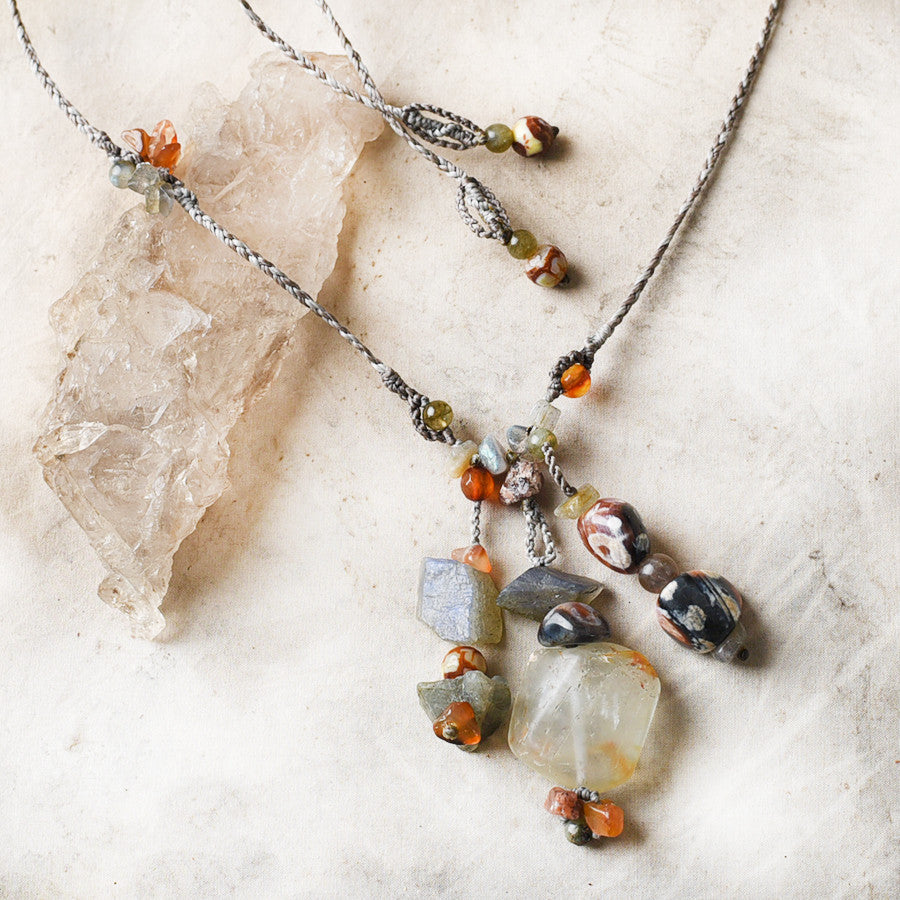 Crystal healing amulet with Topaz, Labradorite & Fire Agate