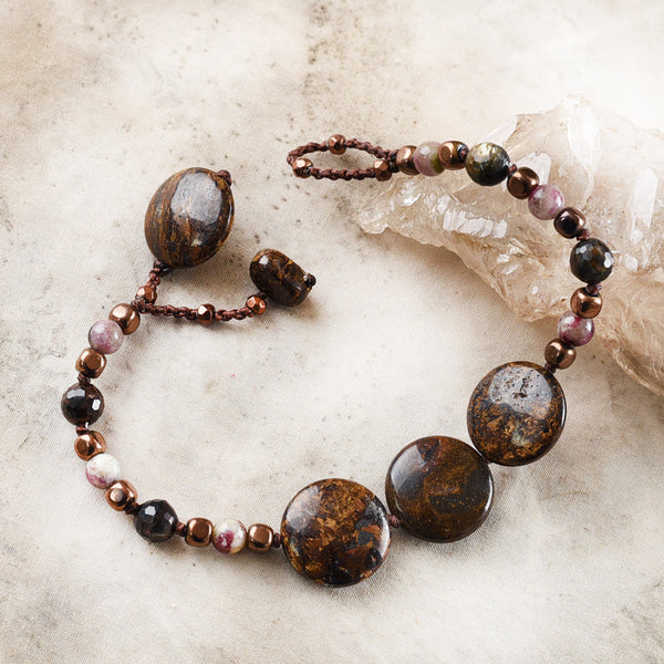 "Crystal healing bracelet with Bronzite ~ for up to 6.5"" wrist"