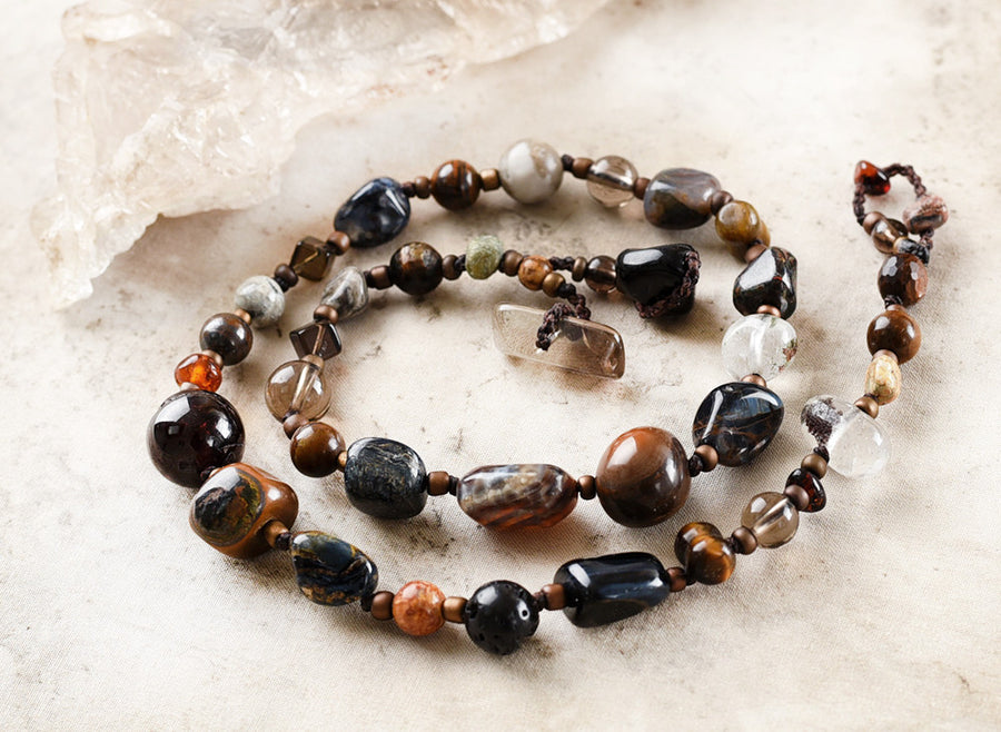 Crystal energy double wrap bracelet in dark tones ~ for up to 6.5