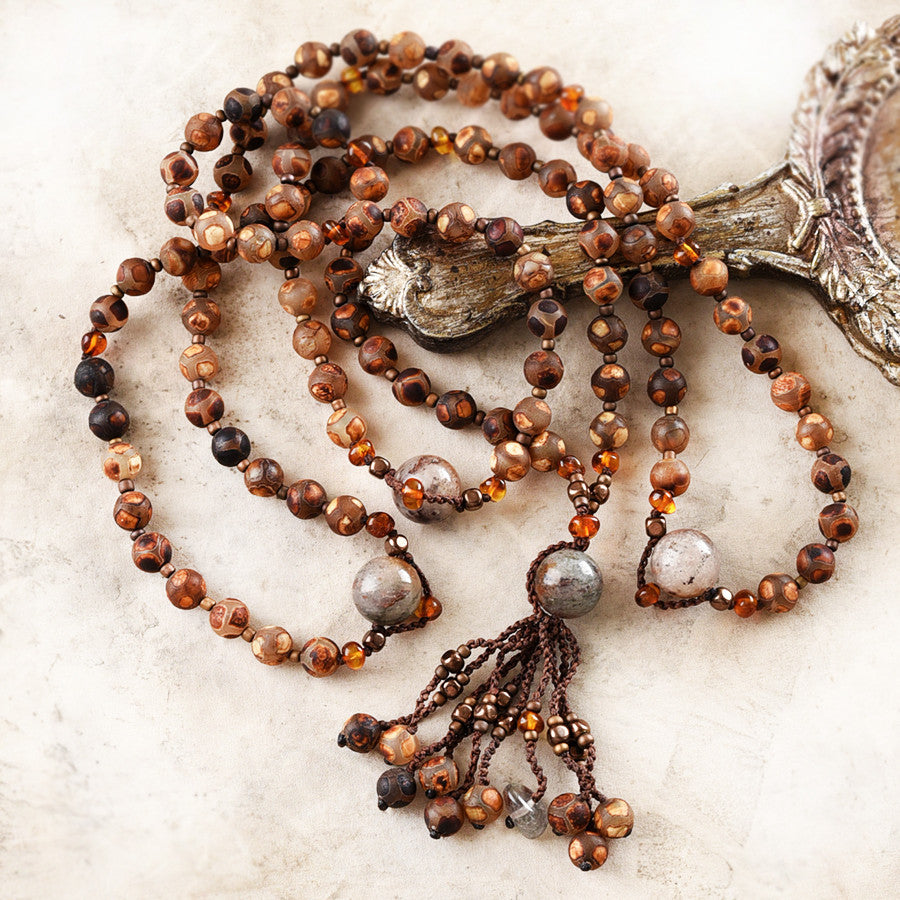 Agate mala with Shaman Dream Stone Quartz, Baltic Amber & Hematite