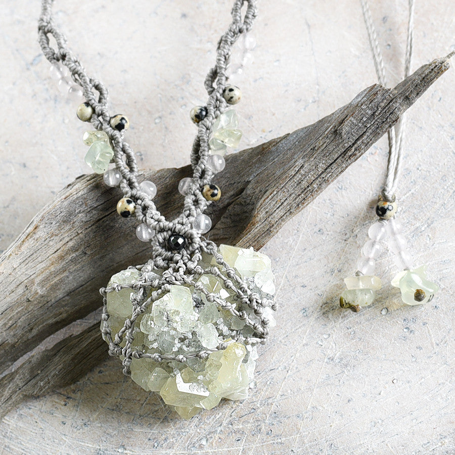 'Field of Light' ~ crystal healing necklace with Datolite