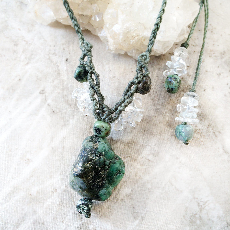 Emerald crystal amulet with African Turquoise Jasper & clear Quartz