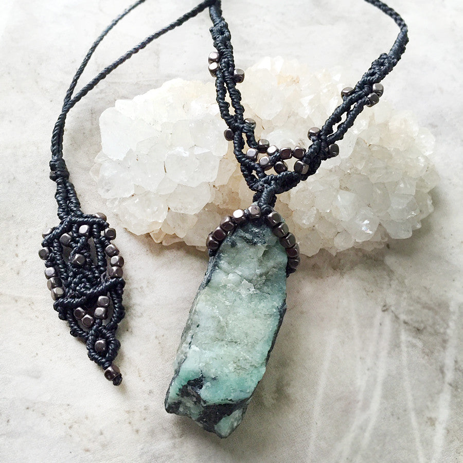 'Strength of Venus' ~ Emerald crystal amulet with Hematite