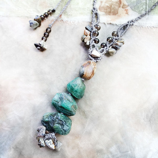 Crystal healing cairn amulet with raw Emerald, Silver Leaf Jasper & Smokey Quartz