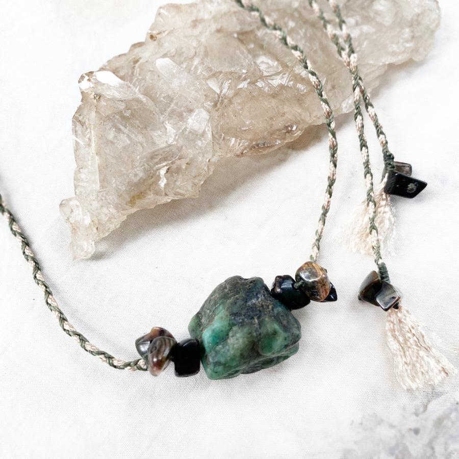 Emerald crystal healing amulet
