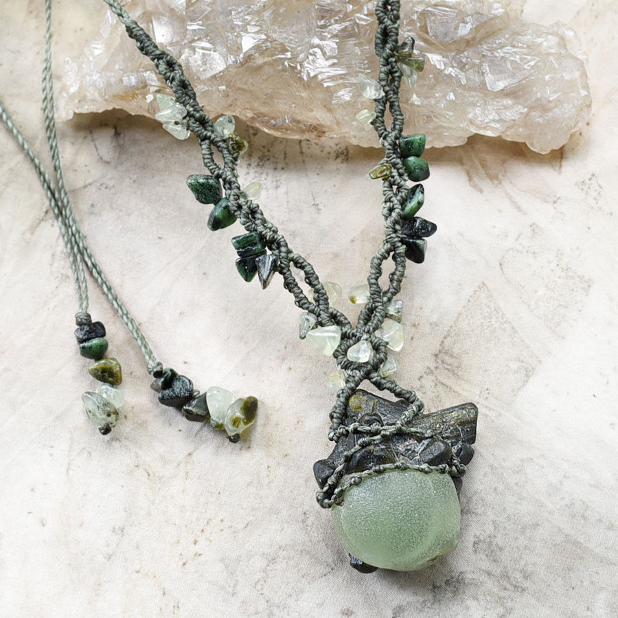 Crystal amulet with Epidote, Prehnite & Anyolite