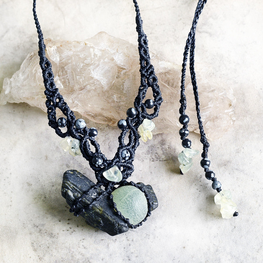 'Healer's Shield' ~ crystal healing necklace with Epidote, Prehnite & Snowflake Obsidian