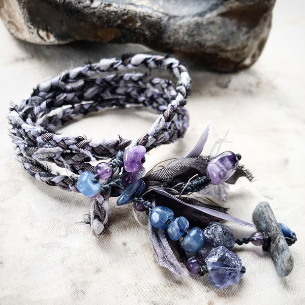 Silk double wrap bracelet with Kyanite, Iolite, Amethyst & Chevron Amethyst ~ for wrist size 6.5""