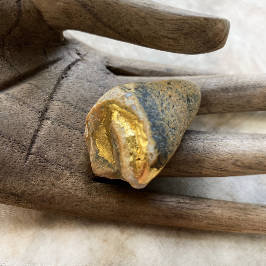'Dedication Stone' ~ sea-tumbled Flint stone with genuine 24ct gold leaf