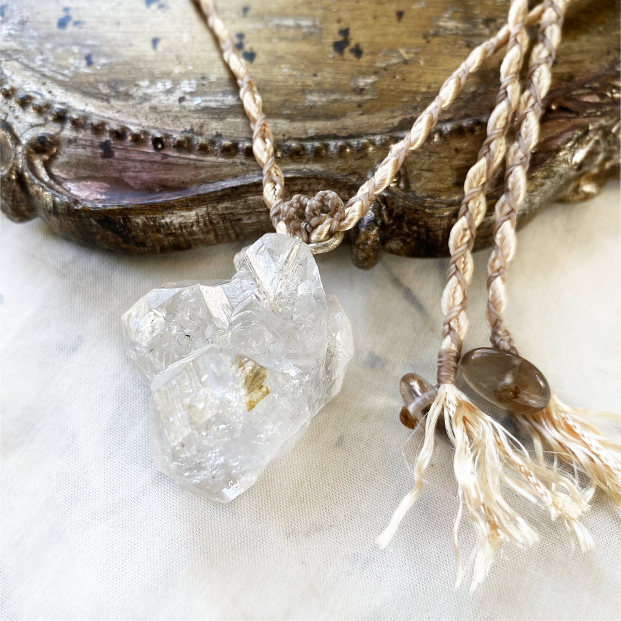 'Soul Path' crystal healing talisman with Fenster Quartz in satin braid