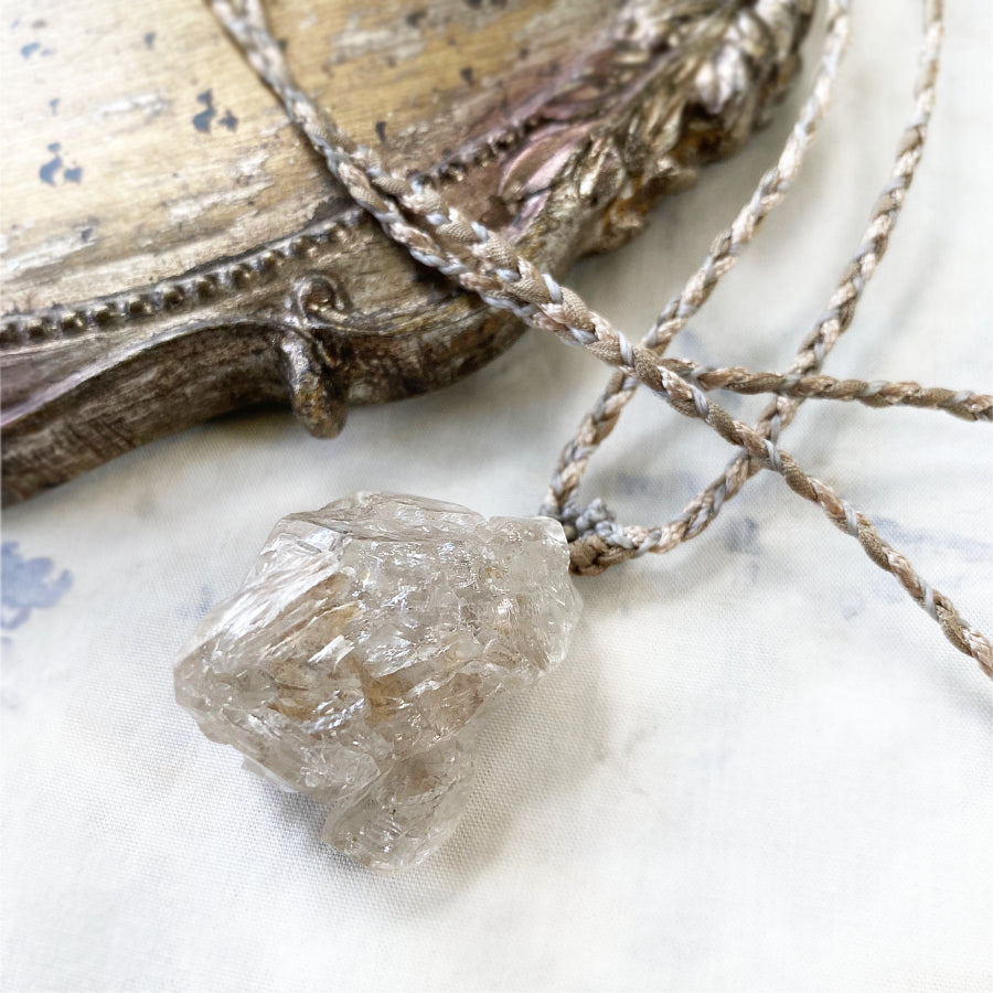 'Soul Path' crystal healing talisman with Fenster Quartz in satin & silk braid