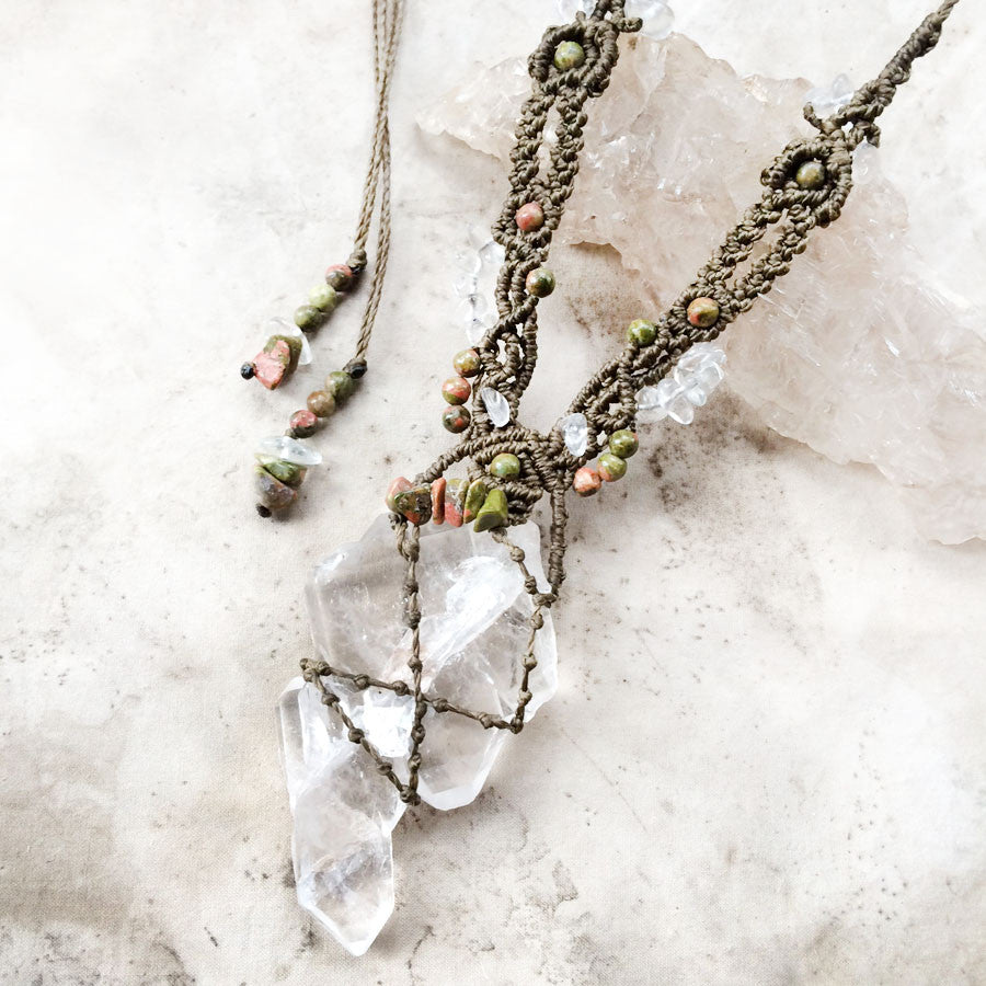 'Path of the Heart' ~ Faden Quartz crystal amulet with Unakite