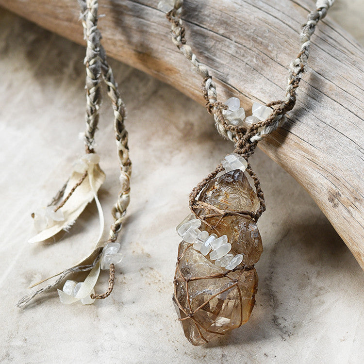 Stone talisman with elestial Fenster Quartz & Moonstone