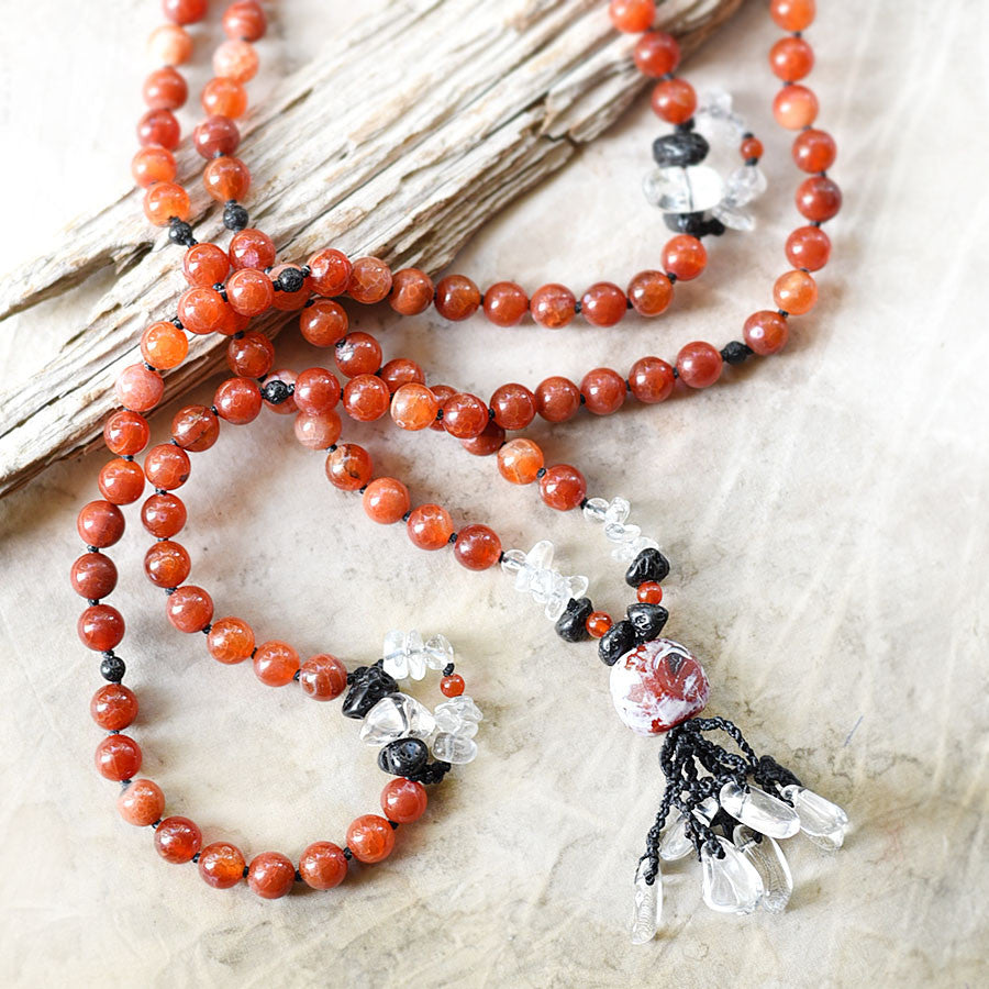 Fire Agate mala with Lava Stone & clear Quartz