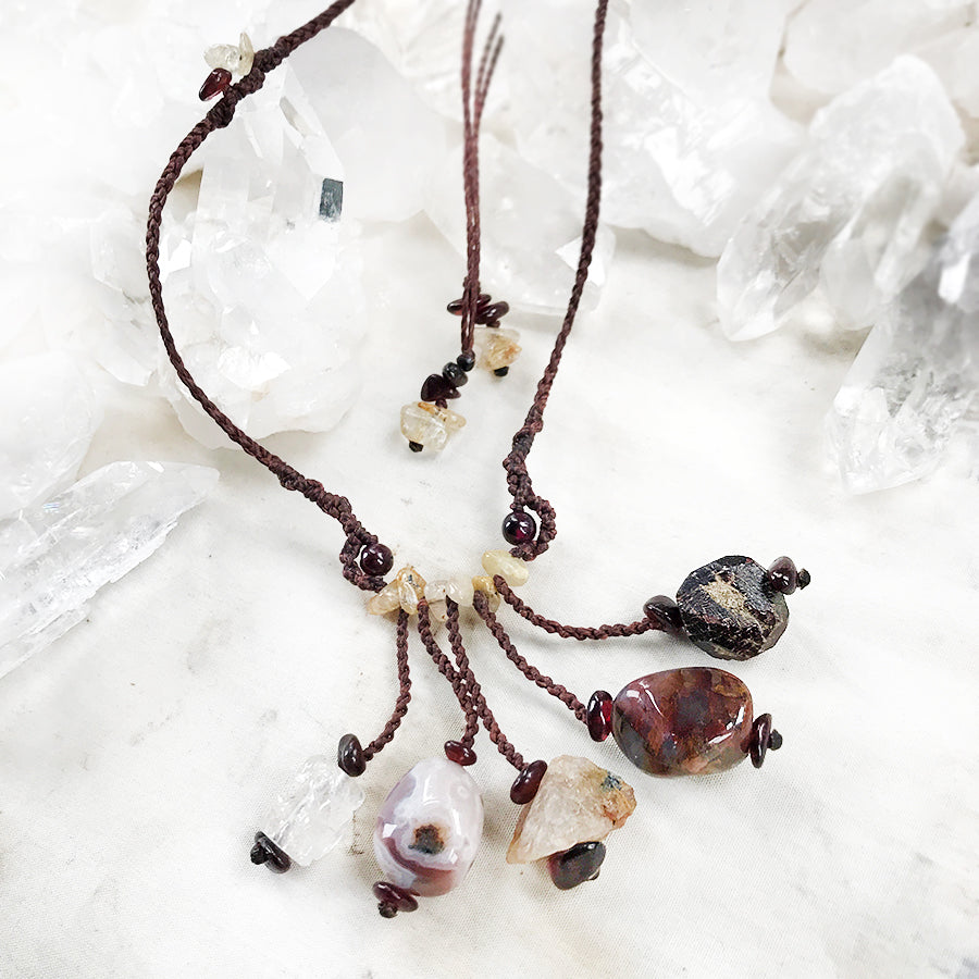 'Five Stone Talisman' ~ with Agate, Gold Rutile Quartz, Garnet, Topaz & Pietersite