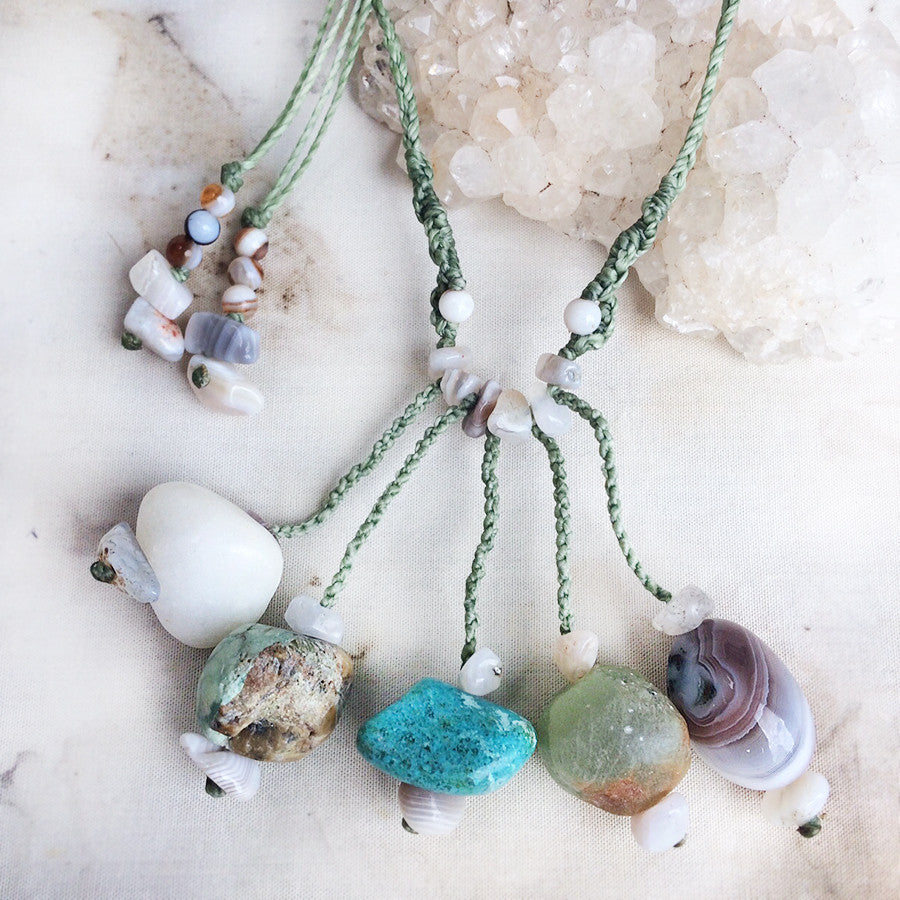 'Five Stone Talisman' ~ Snow Quartz, Green Opal, Amazonite, Prehnite & Agate