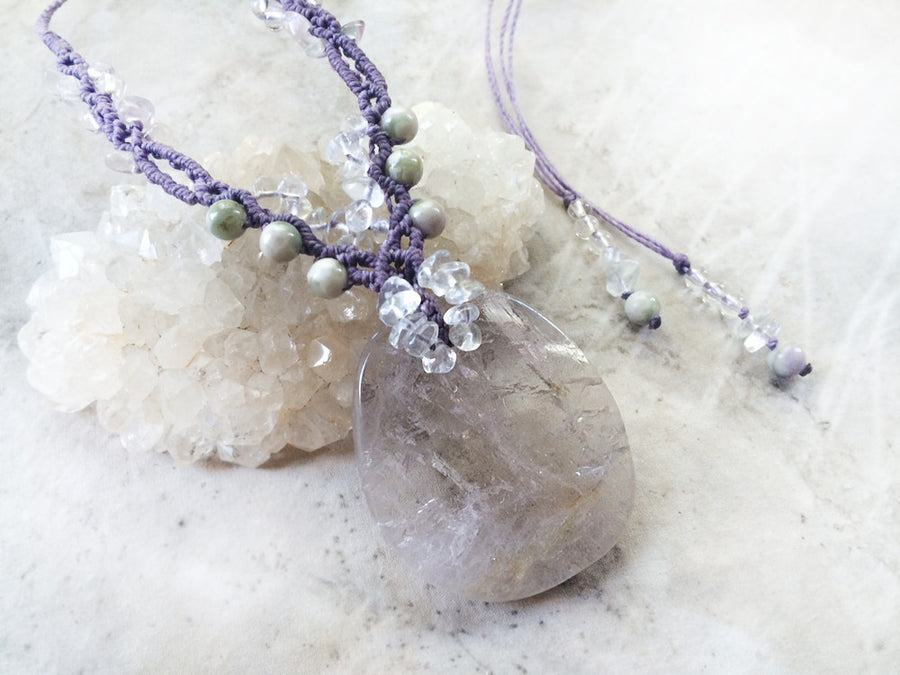 'Loving Mirror' ~ Fluorite crystal healing amulet with Peace Jade & clear Quartz