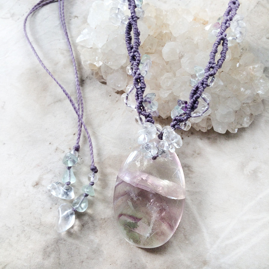 Fluorite crystal amulet necklace with clear Quartz