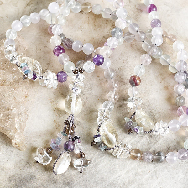 Fluorite mala with Citrine, clear Quartz & Smokey Quartz