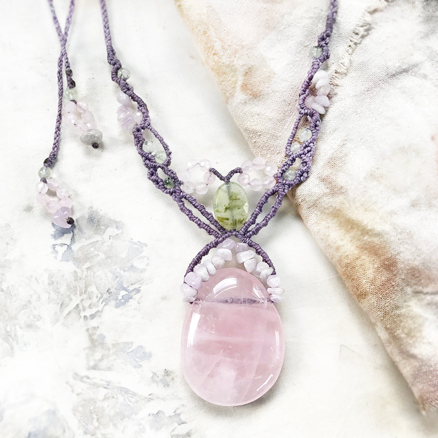Rose Quartz crystal healing amulet with Kunzite & Prehnite
