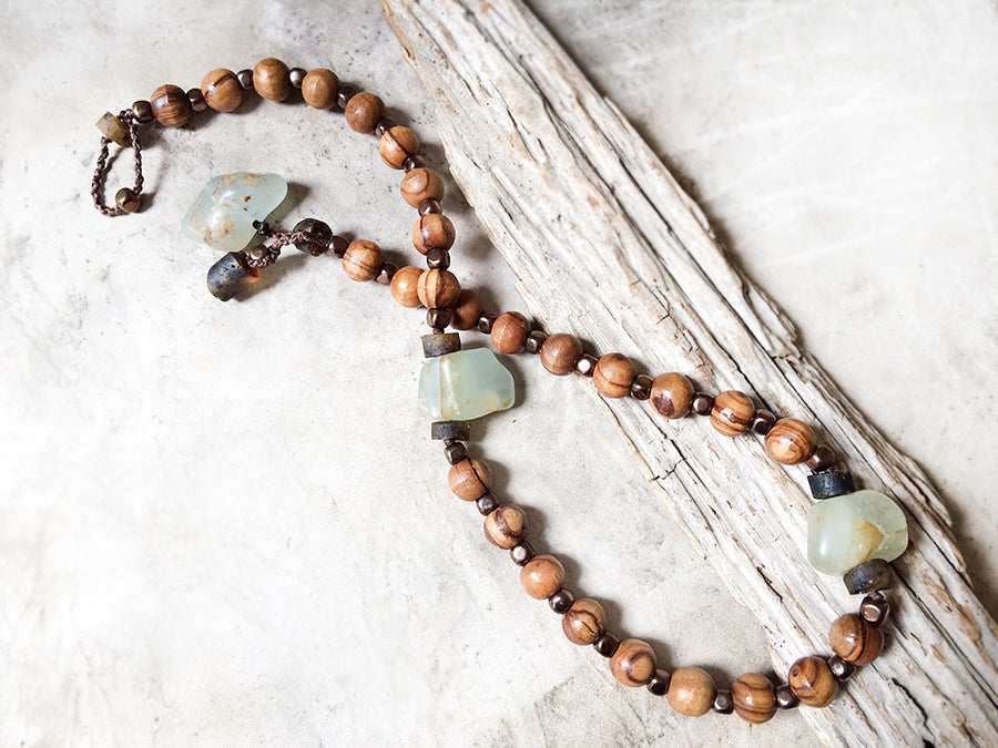 Mala double wrap bracelet with olive wood beads, Hematite, Amber & Aquamarine ~ for up to 6.75