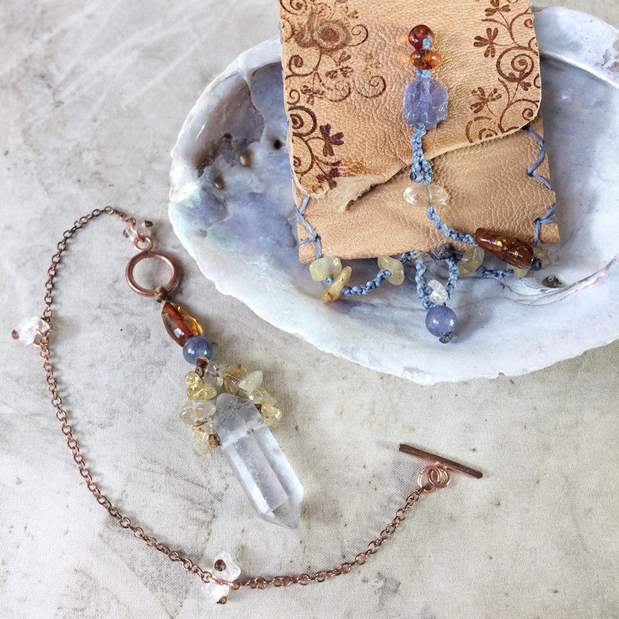 Unique crystal pendulum with decorative carry case