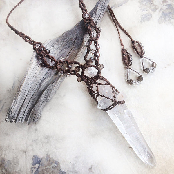 Crystal healing amulet with raw, natural Quartz laser wand