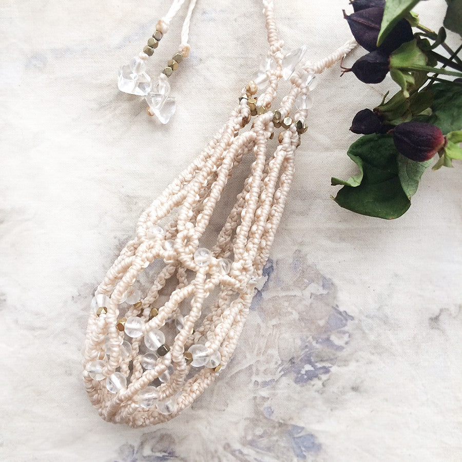 Crystal Pod necklace, natural white cord ~ for carrying loose crystals
