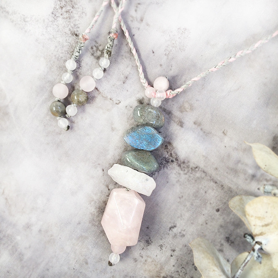 Crystal energy cairn amulet with Rose Quartz & Labradorite