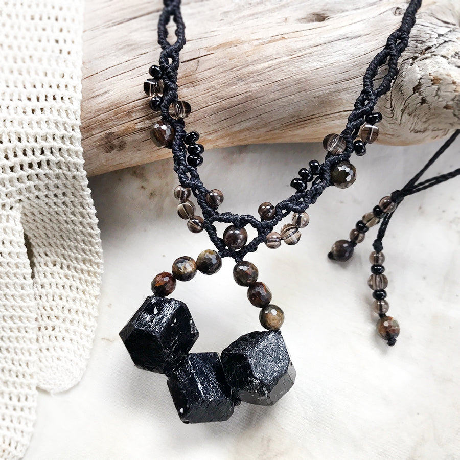 Crystal healing amulet with Black Tourmaline, Golden Mica & Smokey Quartz