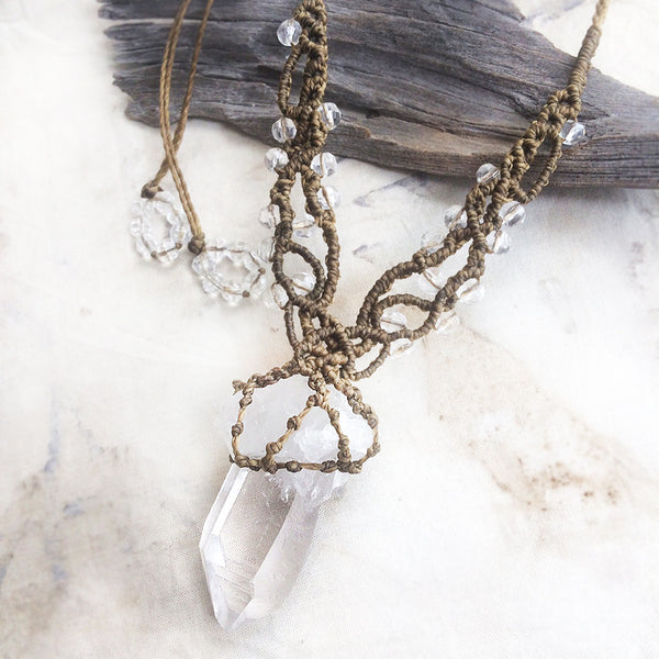 Crystal healing amulet with raw, natural Quartz point