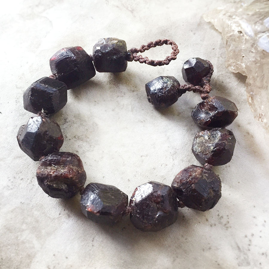 'Inner Strength' ~ chunky Almandine Garnet bracelet, for 6.5