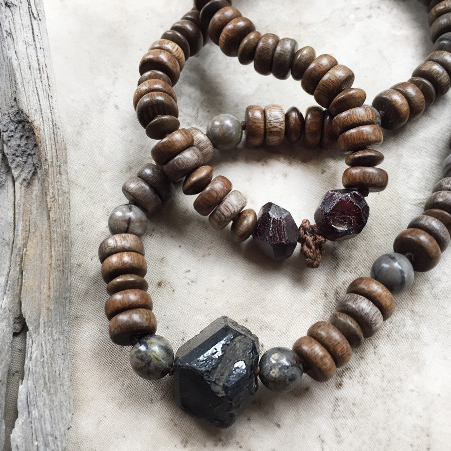 Stone talisman for men ~ with Garnet, Picasso Jasper & wooden beads