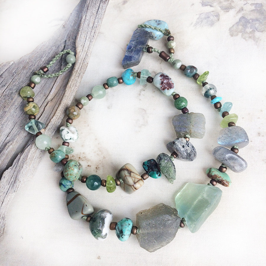 Crystal energy double wrap bracelet in green tones ~ for up to 6.5
