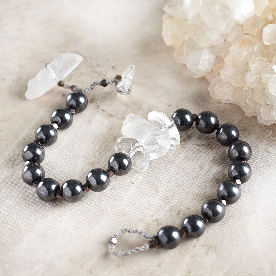 "Mala bracelet with Hematite, rough Quartz point & clear Quartz ~ for up to 7"" wrist"