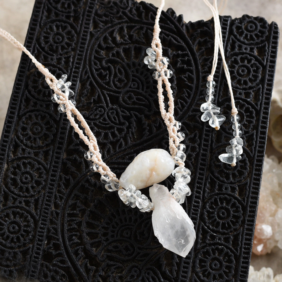 'Destiny Within' ~ Hollandite Star Quartz crystal amulet with white Agate & clear Quartz