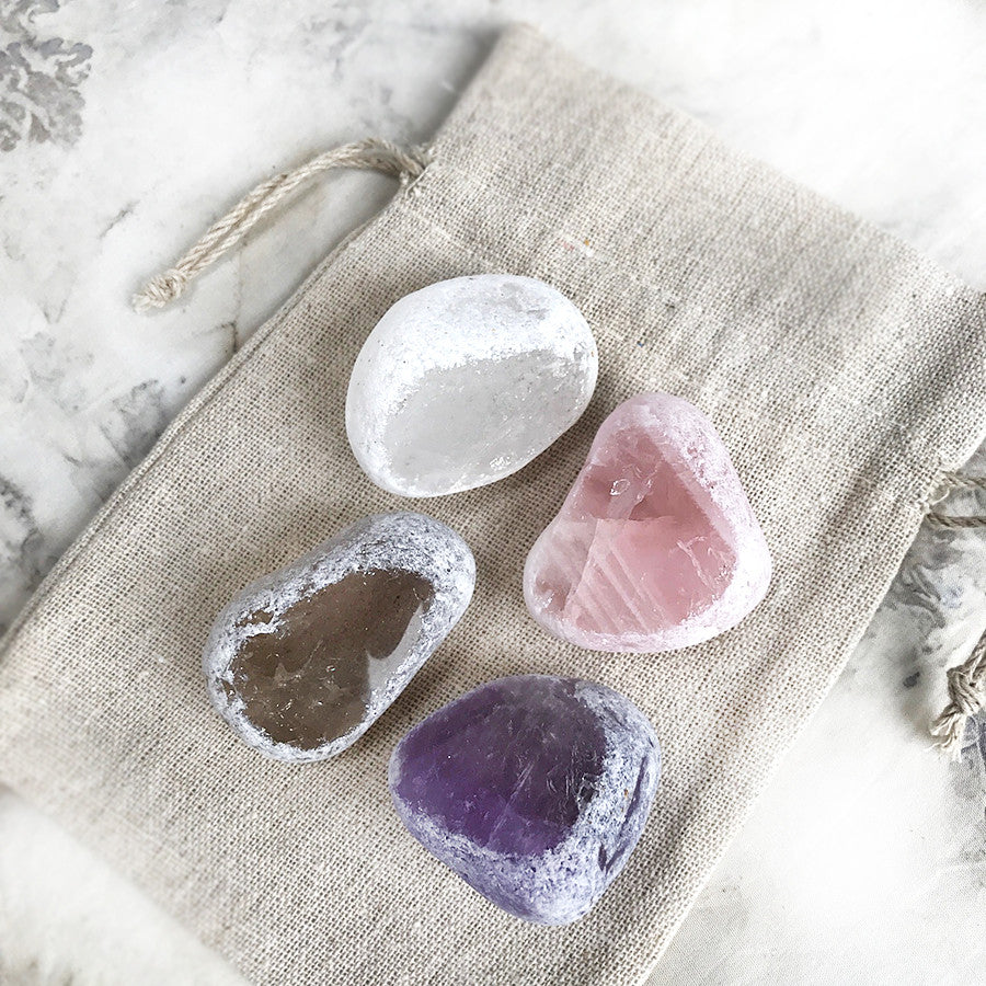 Four 'Seer Stones' ~ Quartz, Smokey Quartz, Rose Quartz & Amethyst